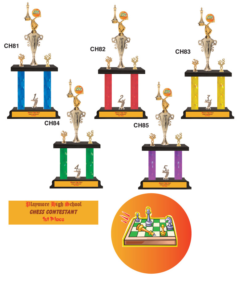 Chess two level trophies with 20-04 and placing ing #Ch81-85