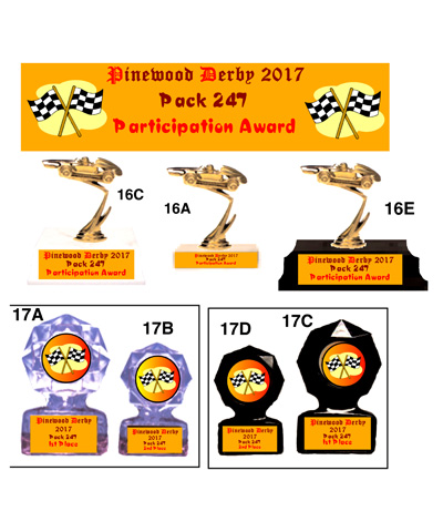 Pinewood Derby Car on base and Round Trophy with Flags #16A17AD